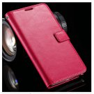 Crazy Horse Grain Full Wallet Case For Samsung Galaxy Note 4 IV 5.7''( COLOR  HOT PINK
