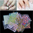 30 Sheet 3D Mix Color Floral Design Nail Art Stickers Decals