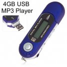 Portable Mini LCD Screen 4GB USB MP3 Player with FM Radio/REC/MIC (color blue