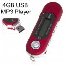 Portable Mini LCD Screen 4GB USB MP3 Player with FM Radio/REC/MIC (color red