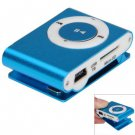 Pocket MP3 Player 3.5mm Audio Jack with Back Clip and Micro SD Card Slot ( color blue