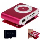 Compact MP3 Player 3.5mm Jack with 8GB Micro SD Card (color pink