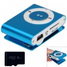 Compact MP3 Player 3.5mm Jack with 8GB Micro SD Card (color blue