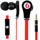 Tangle-free Flat Cable  Sound Deep Bass 3.5MM Audio Jack Stereo Earphone with Mic ( color red