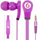 Tangle-free Flat Cable  Sound Deep Bass 3.5MM Audio Jack Stereo Earphone with Mic ( color purple