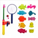 New Magnetic Fishing Toy Rod Model Net 10 Fish Kid Children Baby Bath Time Fun Game