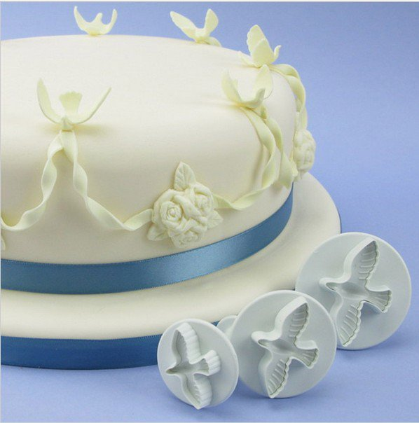 3Pcs Cake Pigeons Decorator Sugar Paste Sugarcraft Cutter Loaf Fondant Plunger Set #17551