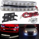 2Pcs Car Daytime Running Lights 8 LED DRL Daylight Kit Super White 12V DC Head Lamp # 12533