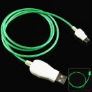 1m Luminous Micro USB Cable LED Visible Light for Micro USB Devices   GREEN