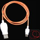 1m Luminous Micro USB Cable LED Visible Light for Micro USB Devices   ORANGE