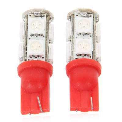 Red Light 9 x SMD 5050 LEDs T10 Car Light - 1 Pair  RED