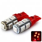 Sencart T10 5050 9 LEDs 2W 635-700nm Wavelength Red Light Car Clearance Light DC 12V (2 pcs)