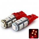 Sencart T10 5050 9 LEDs 2W 635-700nm Wavelength Red Light Car Clearance Light DC 12V (2 pcs)