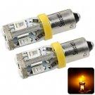 Sencart BA9S 5730 10 LEDs 4W 560-590nm Yellow Light Car Turn Signal Lamp DC 12 - 16V (2 pcs)