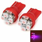 2pcs/Pack Plastic Housing 12V T10 Circuit Board SMD 1210 LED pink Light Bulbs for Car