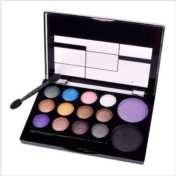 Professional 14 Color New Eyeshadow Glitter Makeup Cosmetic Naked Palette Set Brush in#63576