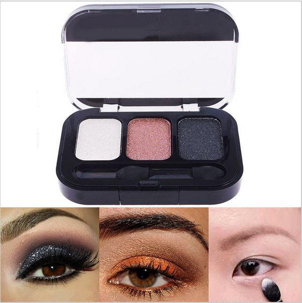 3 Color  Makeup Cosmetics Eye Shadow Care Eyeshadow Palette Set with Brush in#63571 (set 1