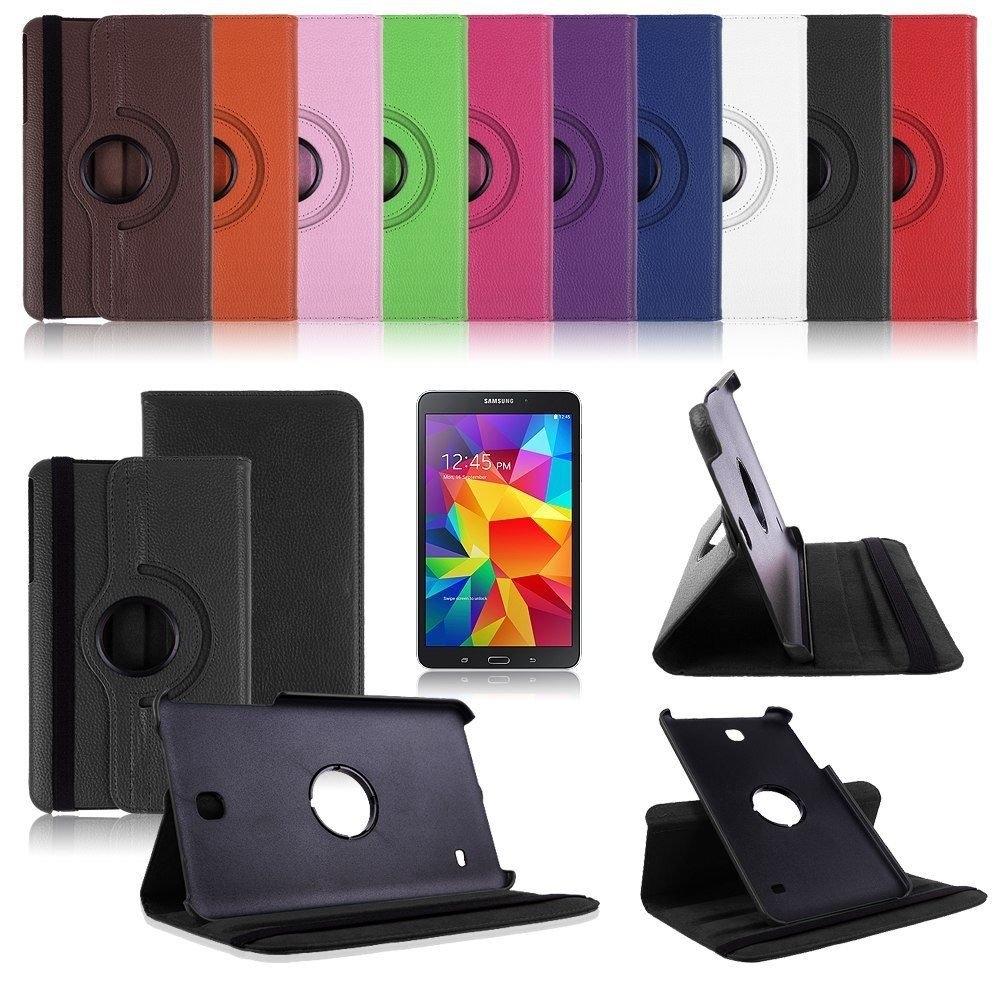 """360 Rotating Leather Case Cover Skin Stand for Samsung GALAXY TAB 4 8.0 8"""" T330"""