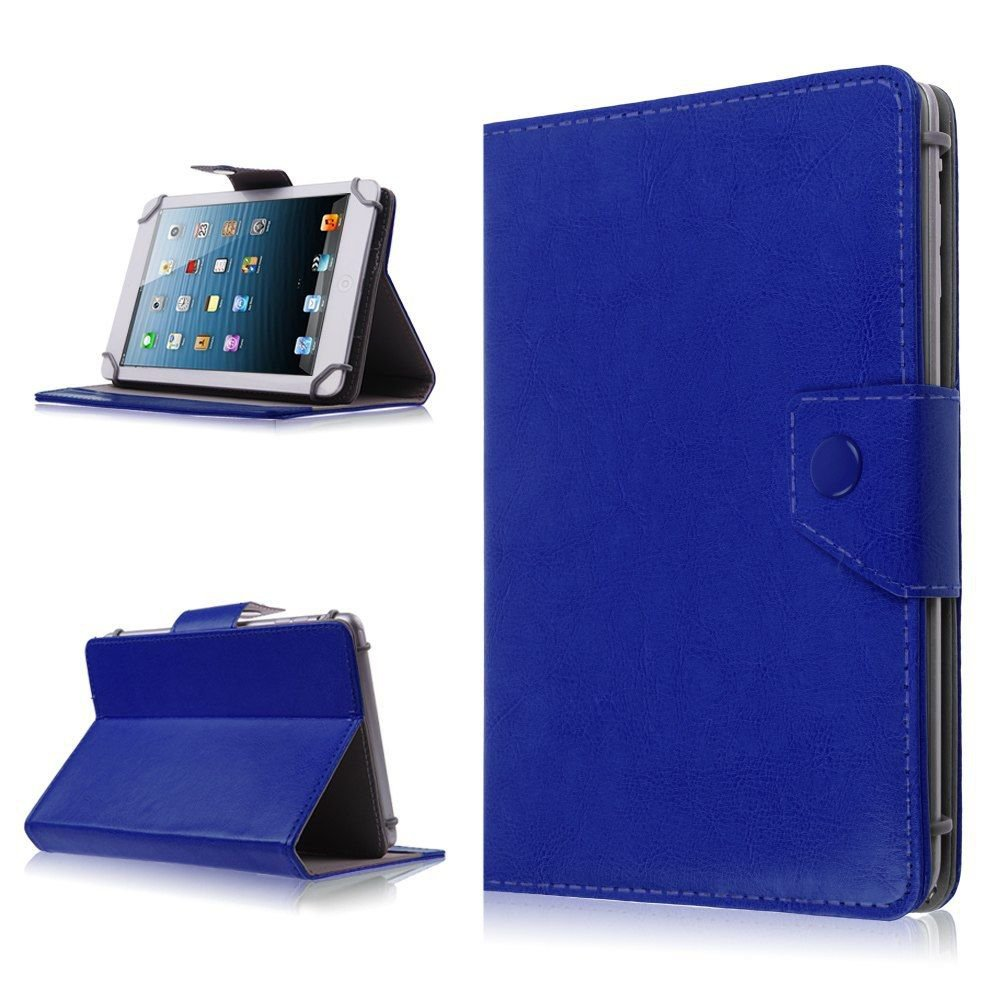 Universal Folio Leather Case Stand Cover for Verizon Ellipsis 7 Inch RCA Tablet (BLUE DARK