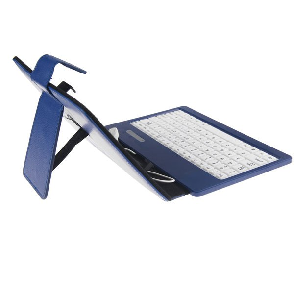 """PU Folio Stand Leather Case Cover USB Keyboard for Nexus 7"""" 7 inch Tablet MID  (COLOR DARK BLUE"""