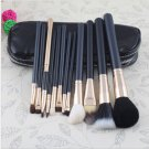 12 PCs Brush Cosmetic Facial Care Beauty Make Up Set With 2 Case Bag Kit #11975