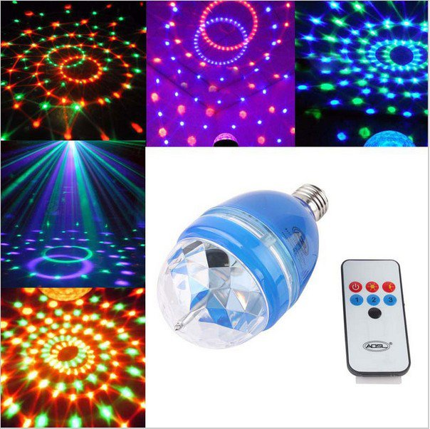 Rotating Stage Light E27 LED Club Sound-activated Bulb W/ Remote Control #50395
