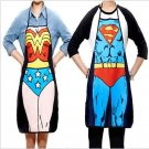 2Pcs/lot Funny Novelty Sexy Dinner Party Superman Cooking Apron Wonder Woman Men