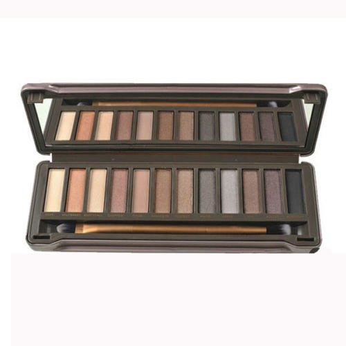 New 12 Color Earth Color Eyeshadow Cosmetic Makeup Palette & Brush Mirror Set