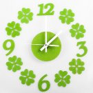 DIY Green Leaf Quartz Movement Unique Design Home Decor Wall Clock