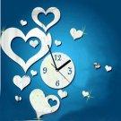 Love heart-shaped Sticker DIY Mirror Wall Clock Wall Sticker Home