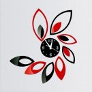 Modern Flower Sticker DIY Mirror Wall Clock Wall Sticker Home Decoration
