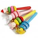 1x Baby Bell Toy Cartoon Animal Wooden Handbell Musical Developmental Instrument