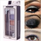 5 Color Women Maquiagem Glitter Beauty Eyeshadow Palette with Double Eye Shadow Brush