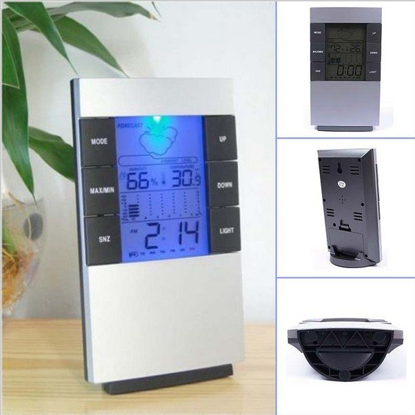 LCD Digital Indoor Outdoor Weather Thermometer Clocks Humidity Meter Hygrometer Alarm Clock
