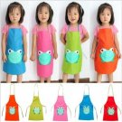 Cute Child's Children Waterproof Apron Cartoon Frog Printed Painting Cooking