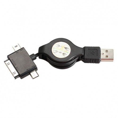 3 in 1 Retractable USB Cable Micro Mini Dock For Appl�e iPad 2 iPhone 4S      SKU:21185