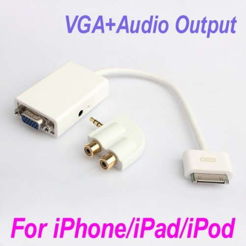 Dock Connector to VGA Adapter Audio Output For iPad 2 3 iPhone 3GS 4 4G 4S IP06