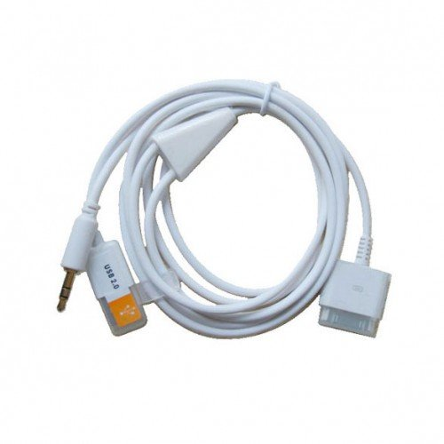 3.5mm Car Aux Audio Out USB Dock Cable for iPhone 3GS 4 iPod Touch iPad2      SKU:6490