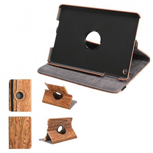 Retro Vintage Wood Grain Leather Wallet Flip Stand Case Cover for iPad Mini