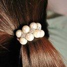Hair Accessory Korean Imitation Pearls Quadrangle Rhinestone Hair Rope
