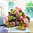 1 Bouquet 21Head Artificial Peony Silk Flower Leaf Home Party Wedding Decoration (color pink