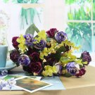 1 Bouquet 21Head Artificial Peony Silk Flower Leaf Home Party Wedding Decoration (color purple