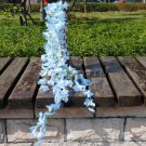 Silk Artificial Flower Vine Leaf Garland Plant Foliage Rattan Home Wedding Decor (color  blue