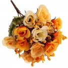 Bridal Bouquet 15Head Artificial Rose Silk Flowers Leaf Party Wedding Decoration( color yellow