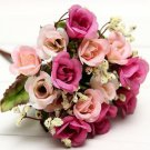 Bridal Bouquet 15Head Artificial Rose Silk Flowers Leaf Party Wedding Decoration( color hot pink