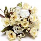 Bridal Bouquet 15Head Artificial Rose Silk Flowers Leaf Party Wedding Decoration( color hot beige