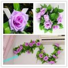 1x Artificial Fake Silk Rose Flower Ivy Vine Hanging Garland Wedding Decor (light purple