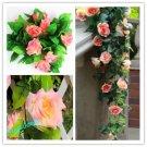 1x Artificial Fake Silk Rose Flower Ivy Vine Hanging Garland Wedding Decor (champagne red