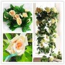 1x Artificial Fake Silk Rose Flower Ivy Vine Hanging Garland Wedding Decor ( champagne