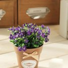 1 Pc Mini Country Lily Artificial Silk Flower Potted Plant Home Floral Decor (COLOR PURPLE